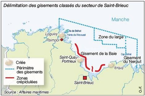 carte de la pêche à la coquille st jacques - Ouest France