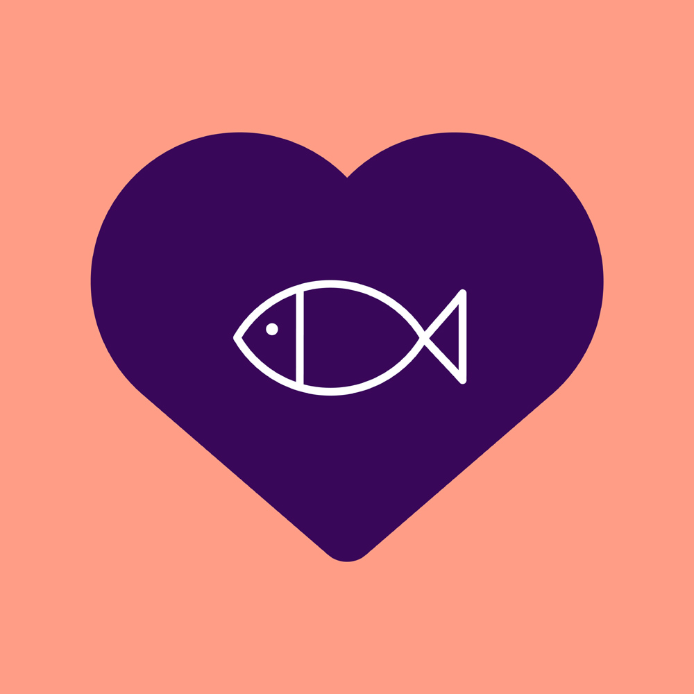 Heart with a fish.