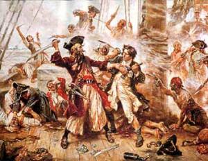 Le Duel entre le pirate Barbe-Noire et le lieutenant Maynard à Ocracoke - peinture de Jean Léon Gérome FERRIS (8 août 1863 - 18 mars 1930)