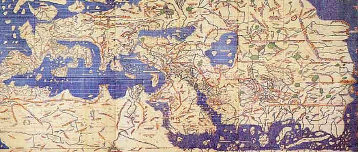 Carte d'Al Idrisi  pour Roger II  de Sicile
