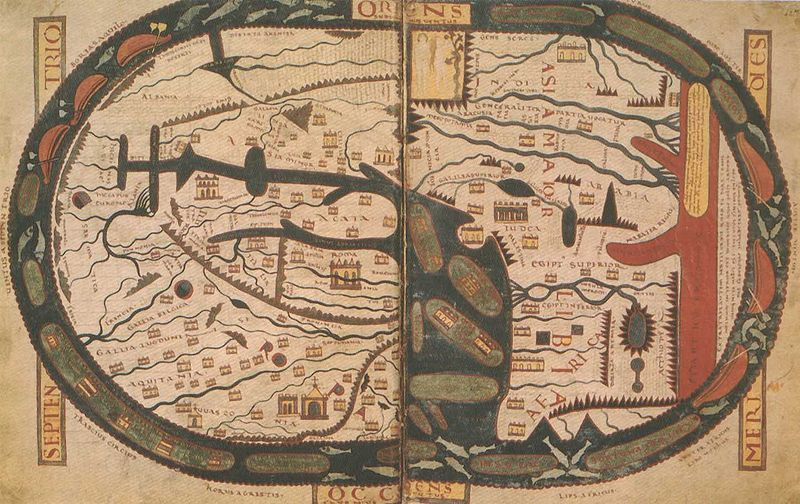 Mapa Mundi de Beatus de Liébana conservé dans le manuscrit de Saint Severn