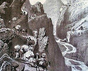 Gravure anonyme partielle des chemins de la route du sel, la vallée de la Roya - Patrice Semeria