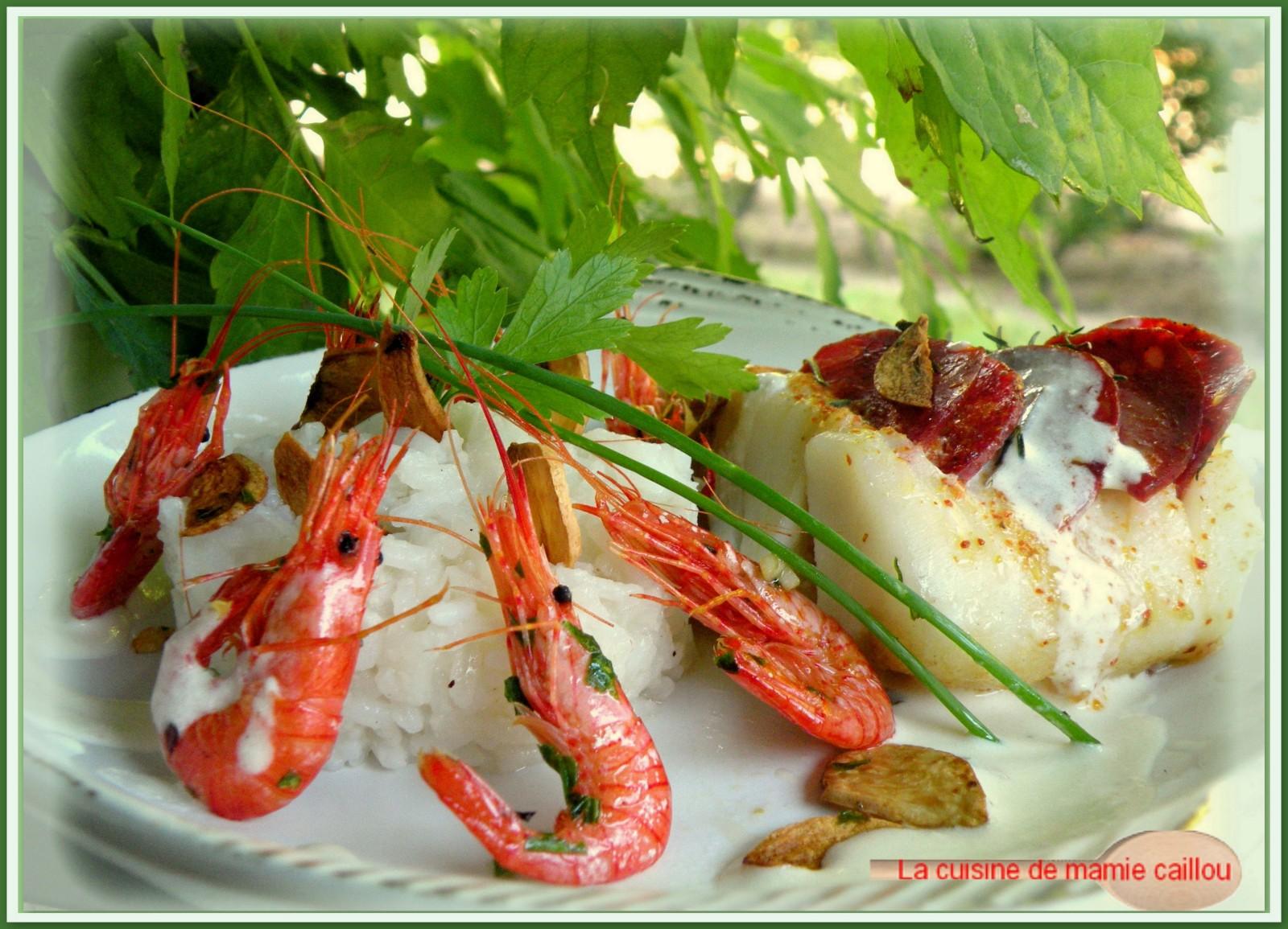 Dos de cabillaud, écailles de chorizo et bouquet de crevettes